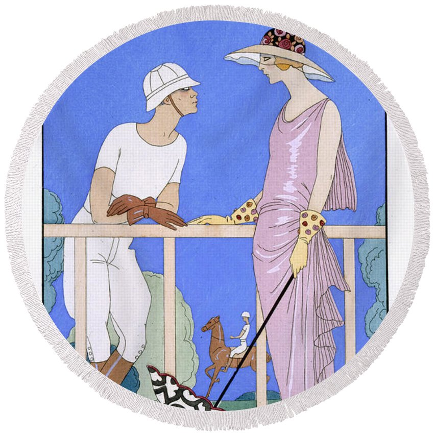 Au Polo Round Beach Towel featuring the painting At Polo by Georges Barbier