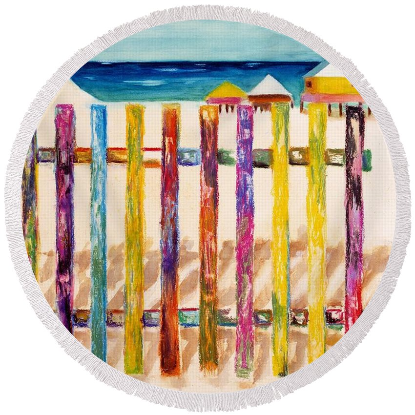 Beach Round Beach Towel featuring the painting At The Beach by Frances Marino