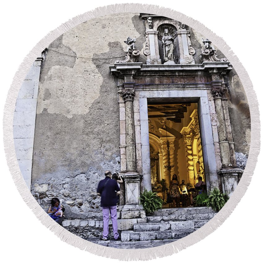 Church Round Beach Towel featuring the photograph At The Church - Child's Curiosity - Sicily by Madeline Ellis