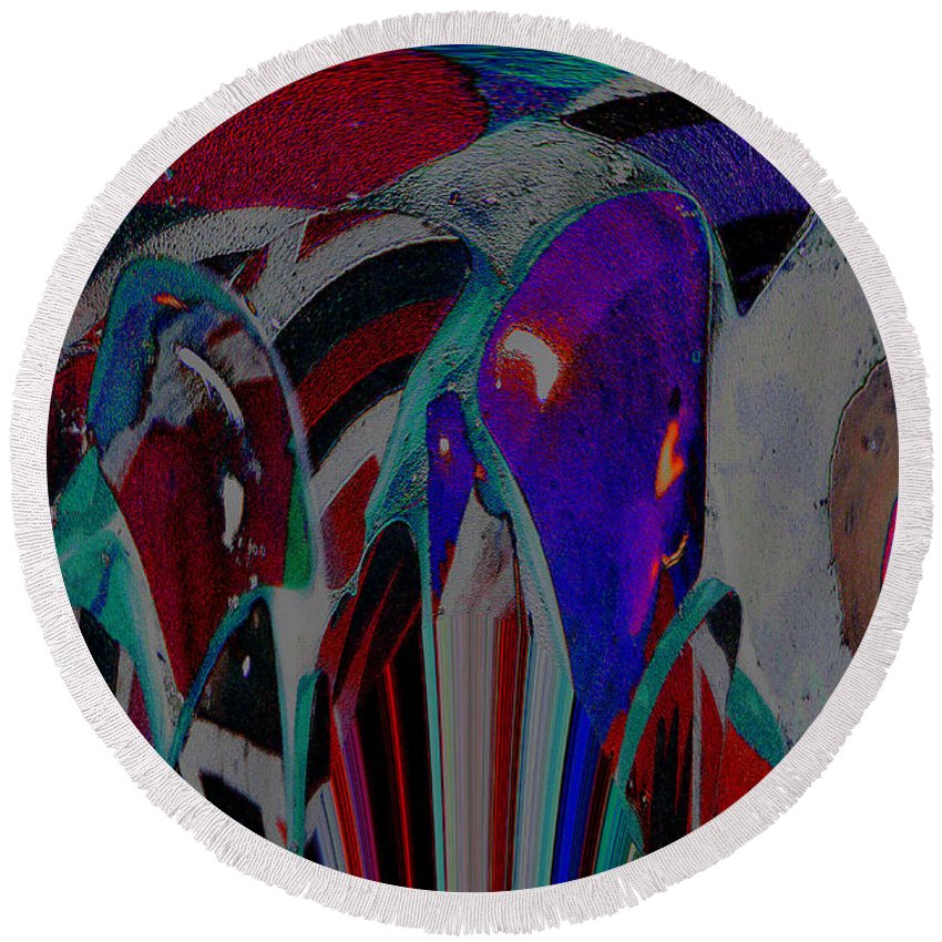 Upcycled Art Round Beach Towel featuring the digital art At The Circus by Kim Peto