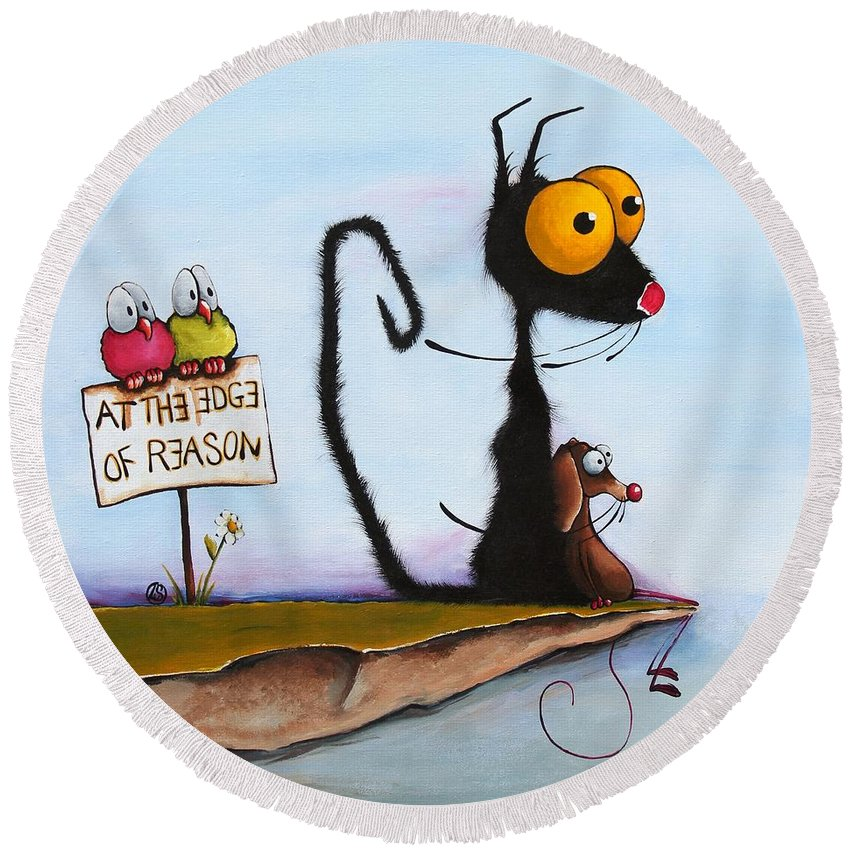 Cat Round Beach Towel featuring the painting At The Edge Of Reason by Lucia Stewart