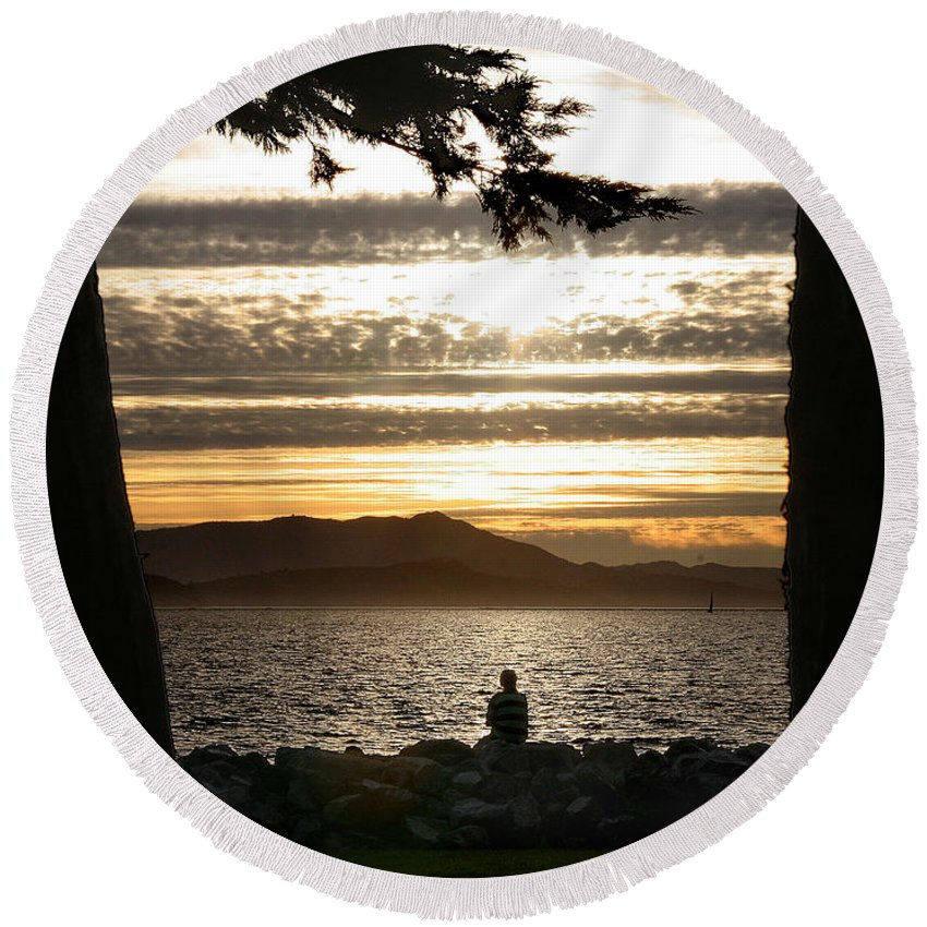 Sunset Round Beach Towel featuring the photograph At The End Of The Day by Robert Woodward