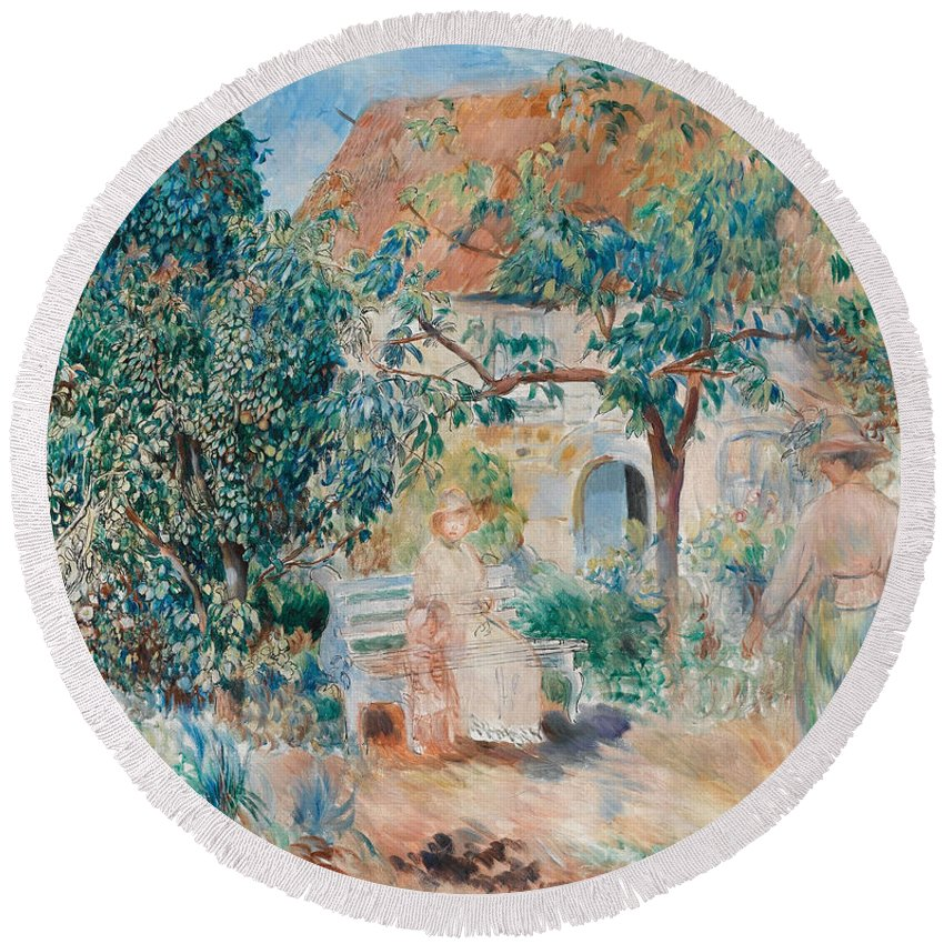 Pierre-auguste Renoir Round Beach Towel featuring the painting At The Garden In Bretagne by Pierre-Auguste Renoir