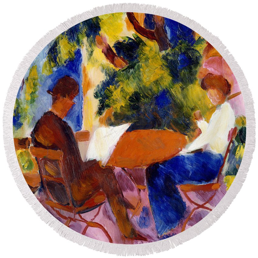 At The Garden Table Round Beach Towel featuring the painting At The Garden Table by August Macke