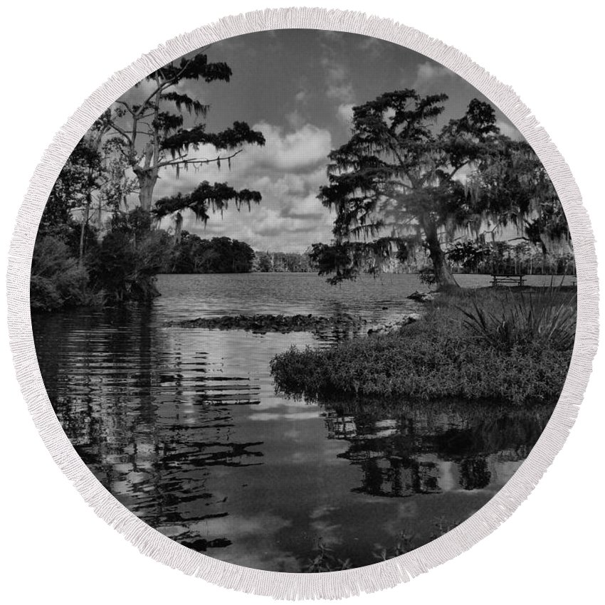 Landscape Round Beach Towel featuring the photograph At The River by Anthony Walker Sr