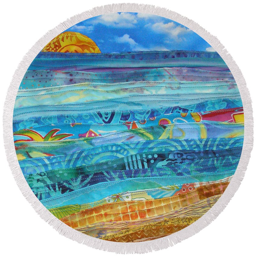 Beach Round Beach Towel featuring the tapestry - textile At The Water's Edge by Susan Rienzo
