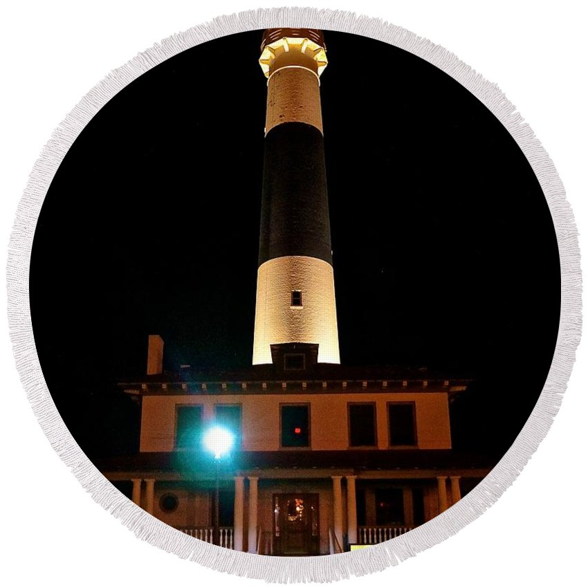 Lighthouse Round Beach Towel featuring the photograph Atlantic City Lighthouse by Tim G Ross