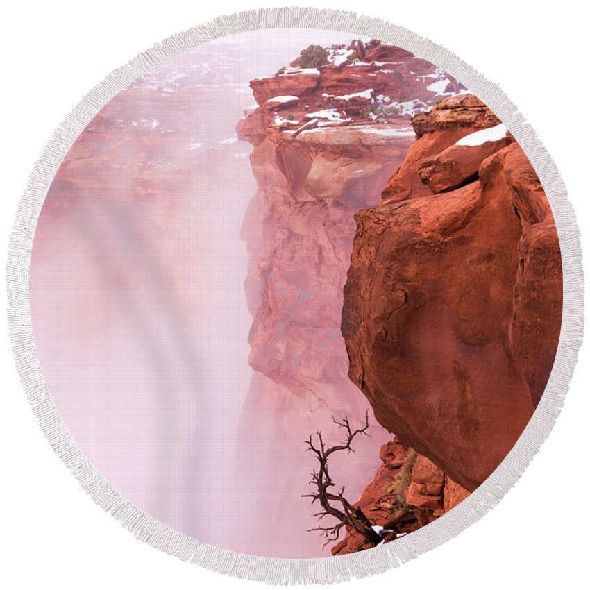 Canyonlands Round Beach Towel featuring the photograph Atop Canyonlands by Chad Dutson