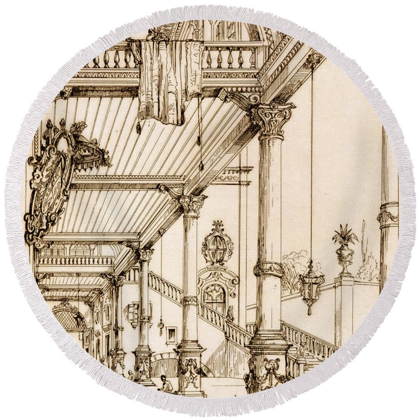 French Round Beach Towel featuring the drawing Atrium Of A Palace, In Genes, From Art by Jean Francois Albanis de Beaumont