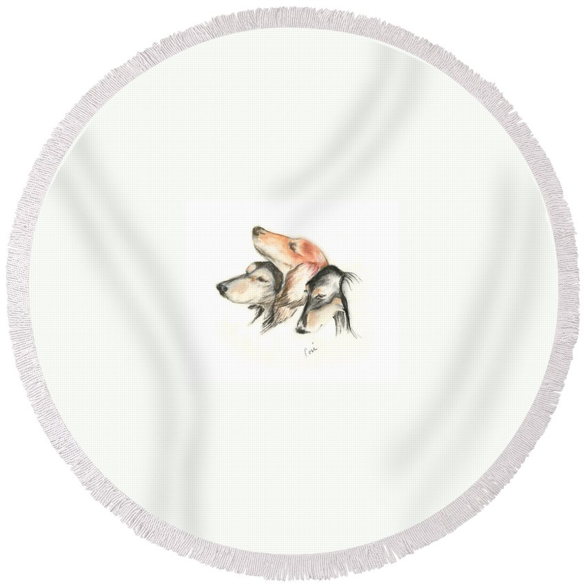 Dog Round Beach Towel featuring the drawing Attitude by Cori Solomon