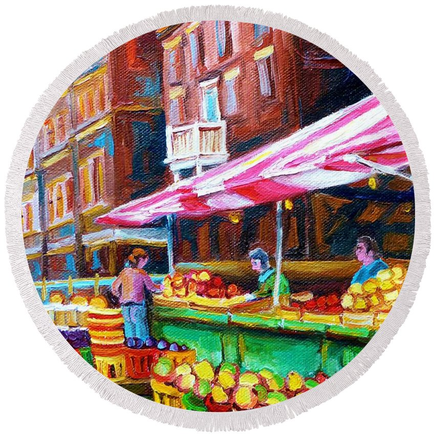 Atwater Market Round Beach Towel featuring the painting Atwater Market  by Carole Spandau