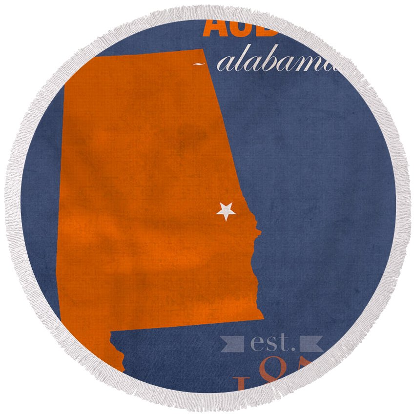 Auburn University Round Beach Towel featuring the mixed media Auburn University Tigers Auburn Alabama College Town State Map Poster Series No 016 by Design Turnpike