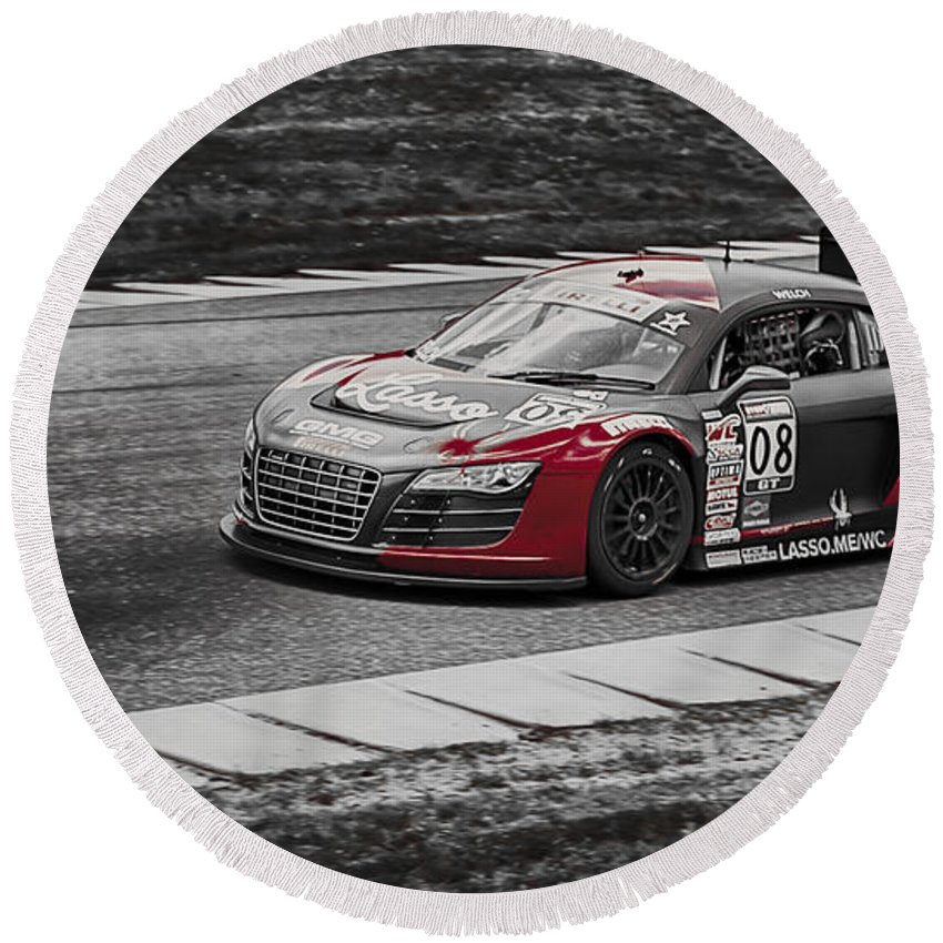 Audi Round Beach Towel featuring the photograph Audacious Audi R8 by Scott Wyatt