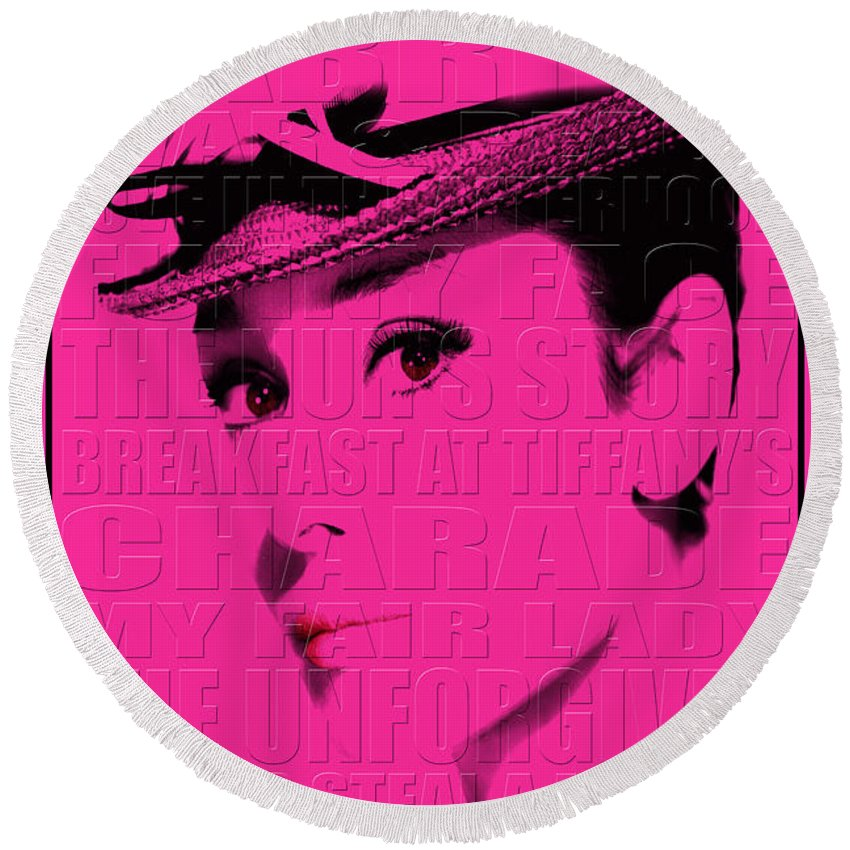Hepburn Round Beach Towel featuring the photograph Audrey Hepburn 4 by Andrew Fare