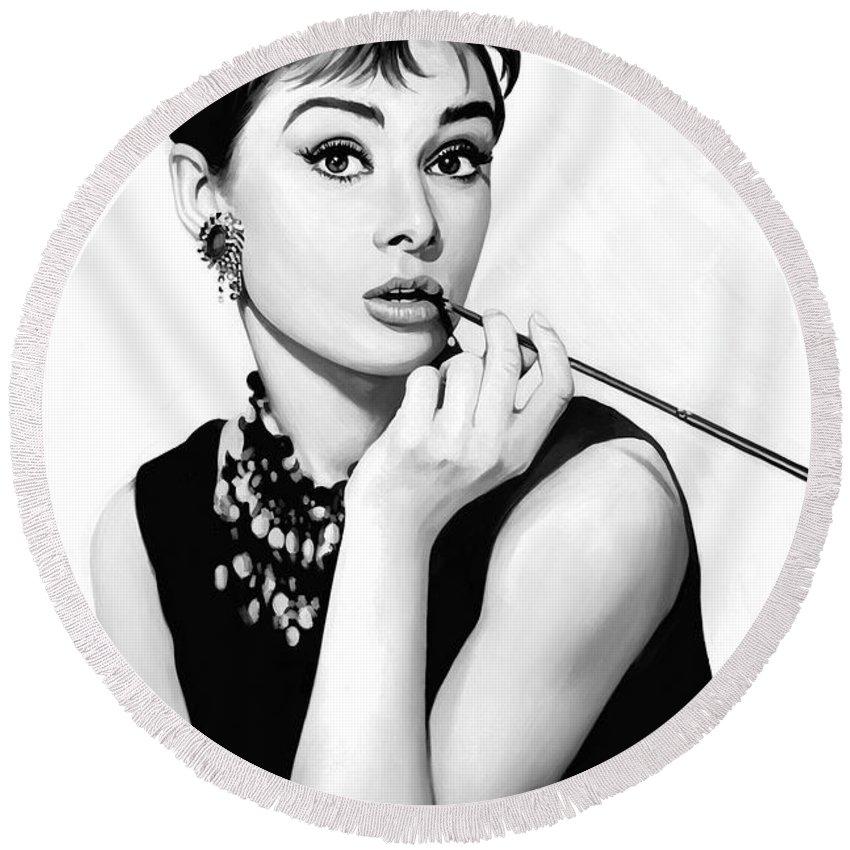 Audrey Hepburn Artwork Round Beach Towel for Sale by Sheraz A