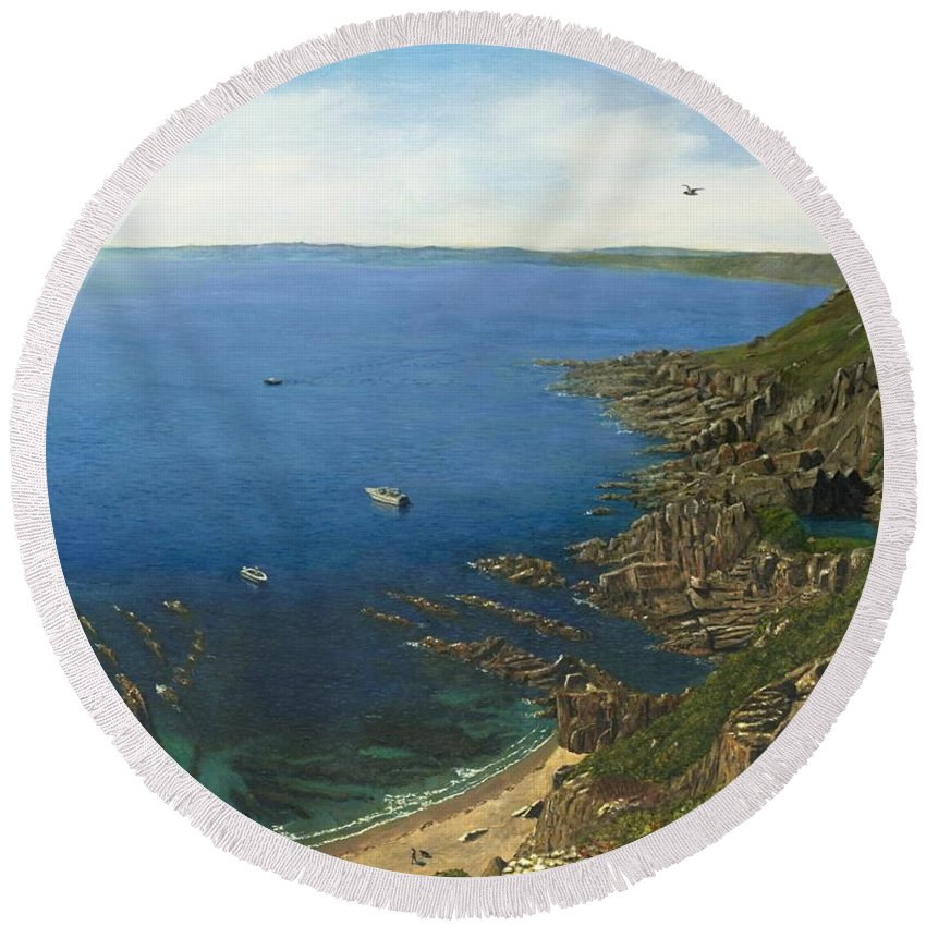 Landscape Round Beach Towel featuring the painting August Afternoon At Whitsand Bay Cornwall by Richard Harpum