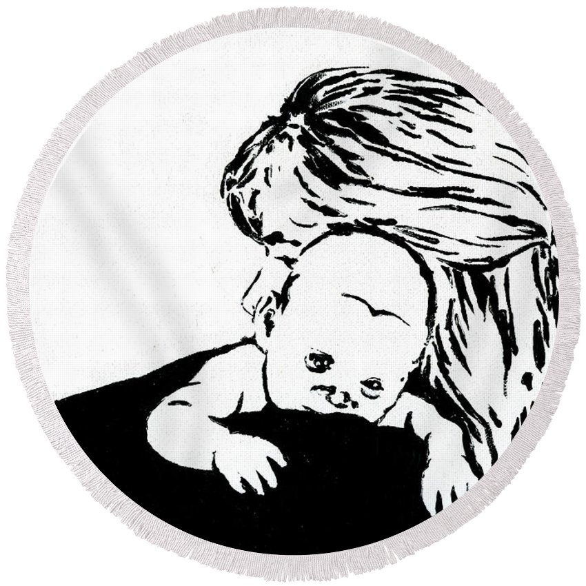 Mom Round Beach Towel featuring the painting Aunt Jo And Cheychey by Tamir Barkan
