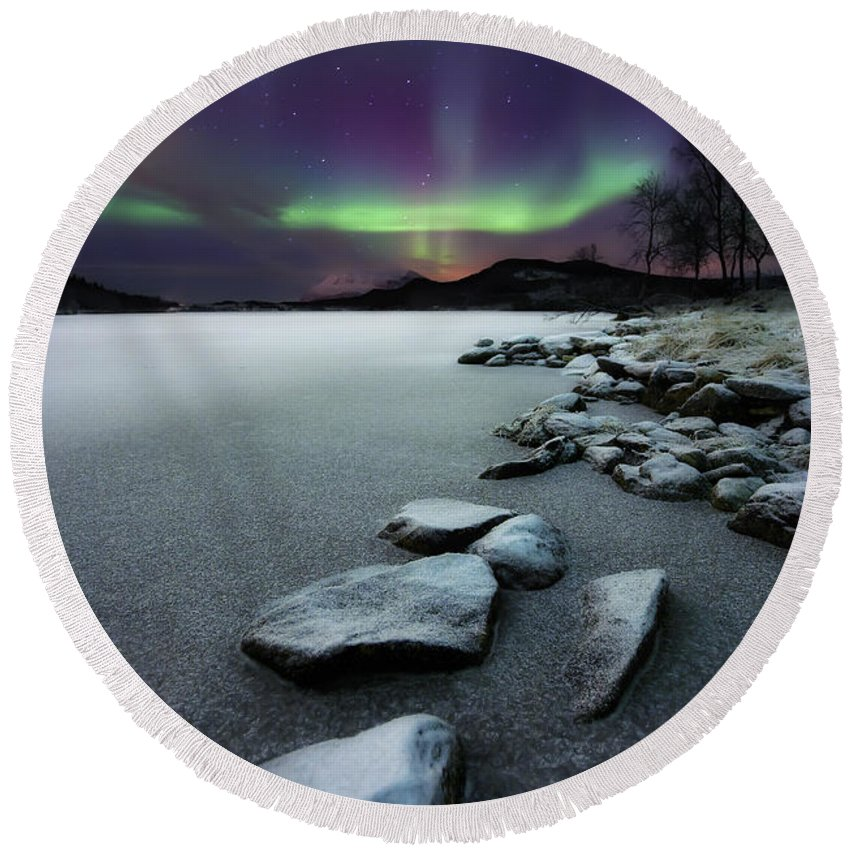 Aurora Borealis Round Beach Towel featuring the photograph Aurora Borealis Over Sandvannet Lake by Arild Heitmann