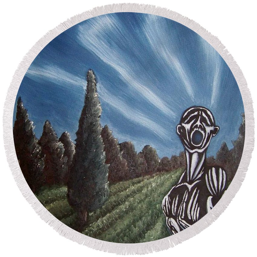Tmad Round Beach Towel featuring the painting Aurora by Michael TMAD Finney
