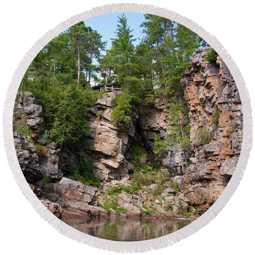Landscape Round Beach Towel featuring the photograph Ausable Chasm 1608 by Guy Whiteley