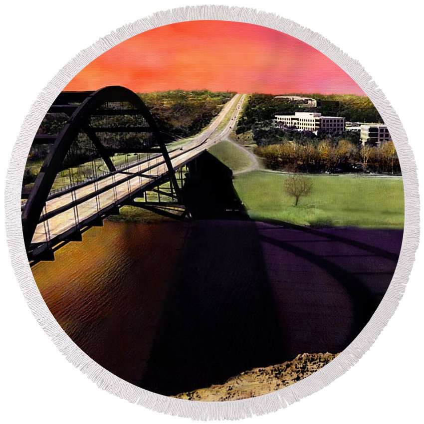 Austin Round Beach Towel featuring the photograph Austin 360 Bridge by Marilyn Hunt