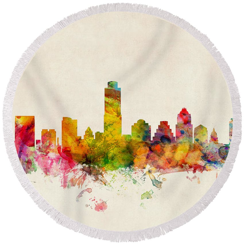 Austin Skyline Round Beach Towels