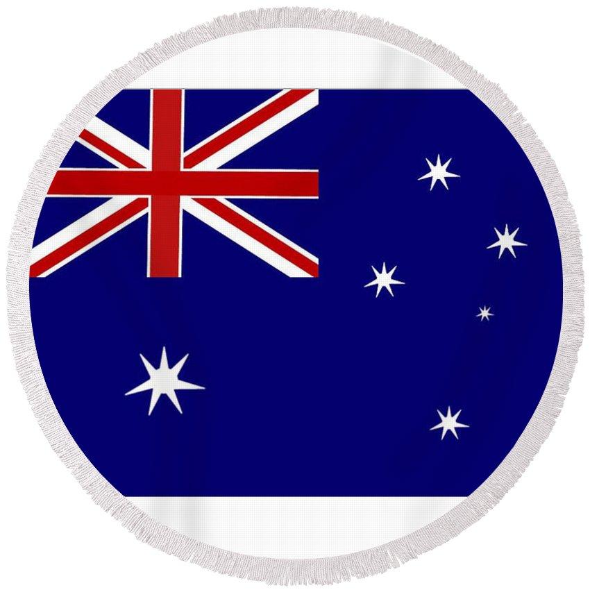 Australia Round Beach Towel featuring the digital art Australia Flag by Frederick Holiday