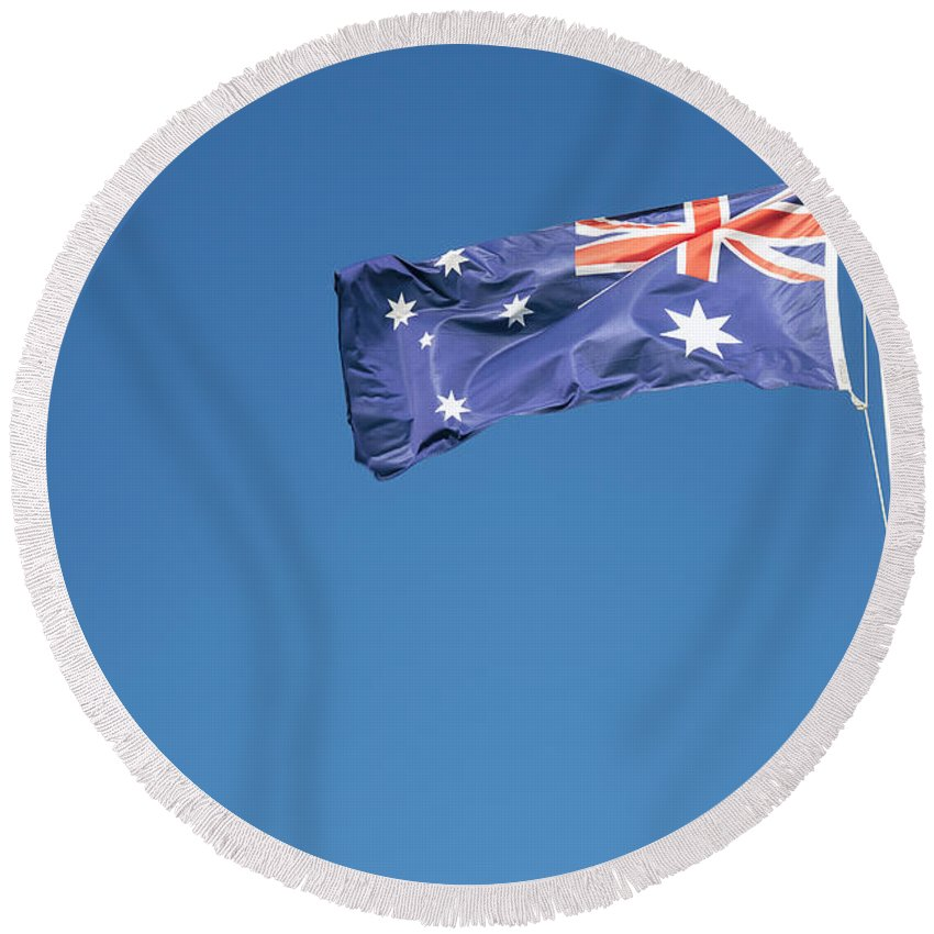 Australia Round Beach Towel featuring the photograph Australian Flag Outdoors by Jacek Malipan