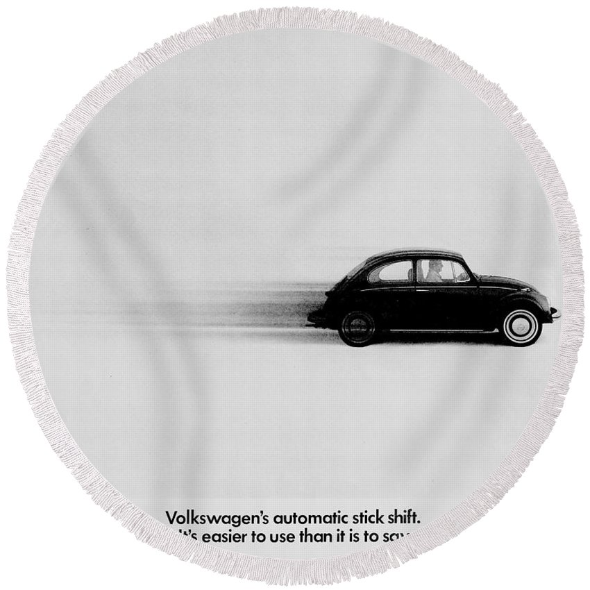 Volkswagen Round Beach Towel featuring the photograph Automatic by Benjamin Yeager