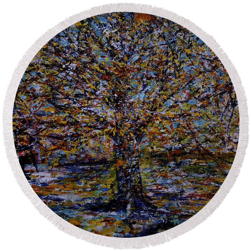 Jack Diamond Round Beach Towel featuring the painting Autum In Central Park by Jack Diamond