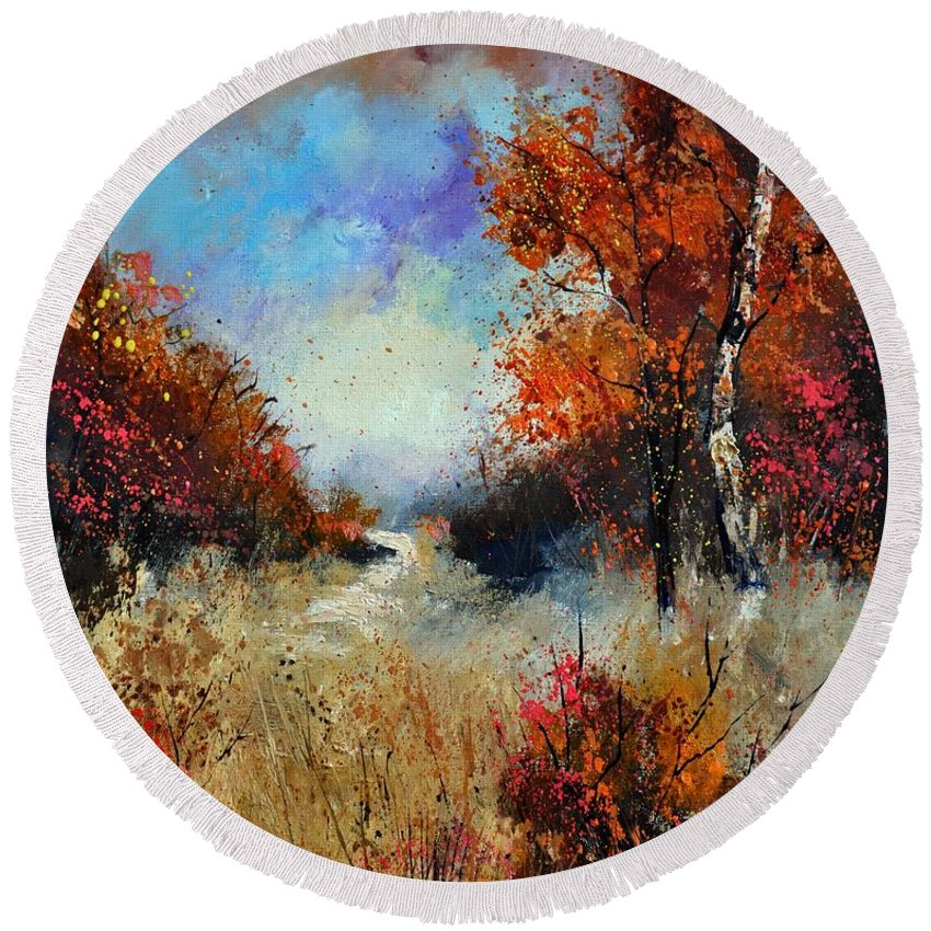 Landscape Round Beach Towel featuring the painting Autumn 5641 by Pol Ledent