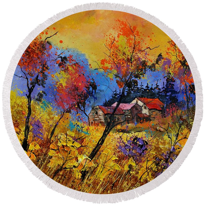 Landscape Round Beach Towel featuring the painting Autumn 884101 by Pol Ledent