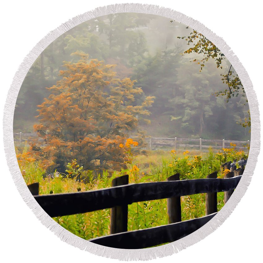 Autumn Round Beach Towel featuring the photograph Autumn Along The Fence by Kerri Farley
