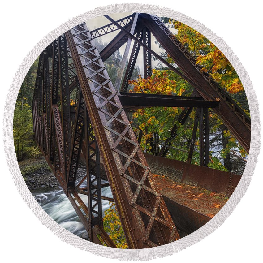 October Round Beach Towel featuring the photograph Autumn And Iron by Mark Kiver