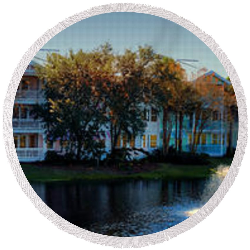Ablaze Round Beach Towel featuring the photograph Autumn At Old Key West Resort Panorama Walt Disney World by Thomas Woolworth