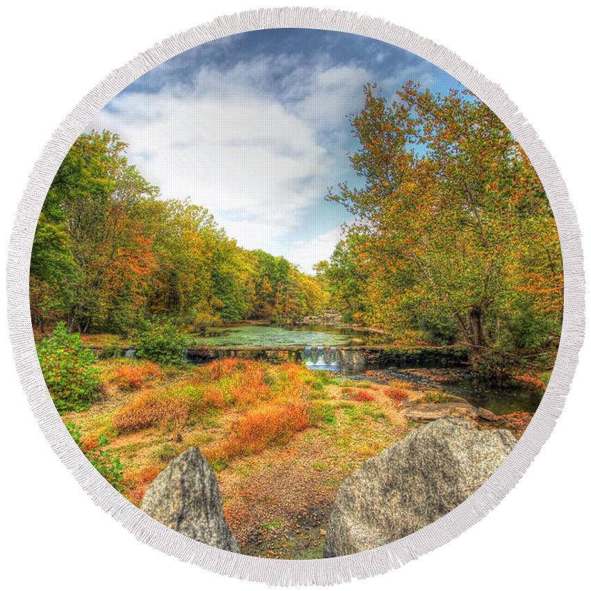 Autumn Round Beach Towel featuring the photograph Autumn At The Creek - Green Lane - Pennsylvania - Usa by Mother Nature