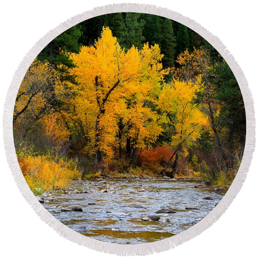Landscape Round Beach Towel featuring the photograph Autumn Beauty In Boise County by Ed Riche