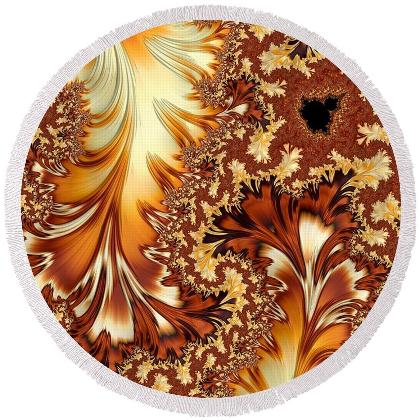 Orange Round Beach Towel featuring the digital art Autumn Breezes by Heidi Smith