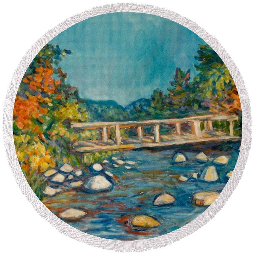 Kendall Kessler Round Beach Towel featuring the painting Autumn Bridge by Kendall Kessler