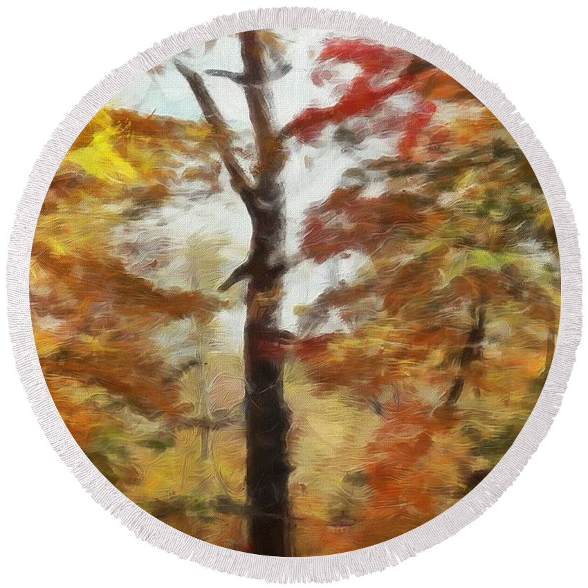 Autumn Canvas Round Beach Towel featuring the painting Autumn Canvas by Dan Sproul