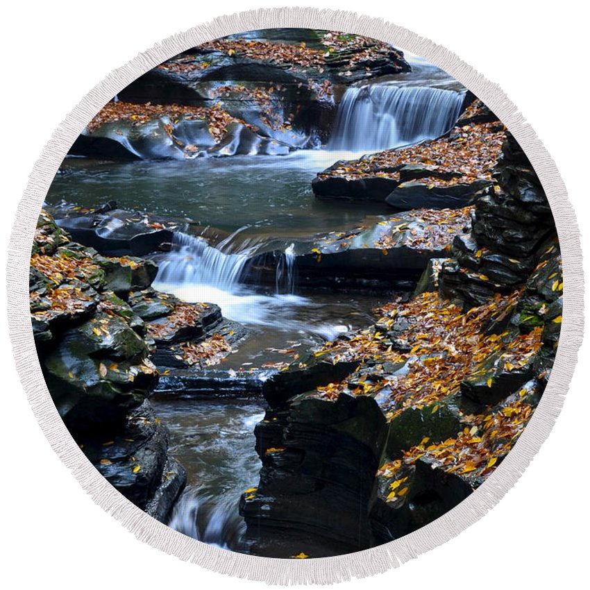 Autumn Round Beach Towel featuring the photograph Autumn Cascade by Frozen in Time Fine Art Photography