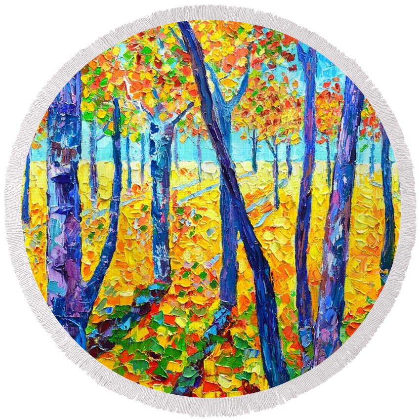 Autumn Round Beach Towel featuring the painting Autumn Colors by Ana Maria Edulescu