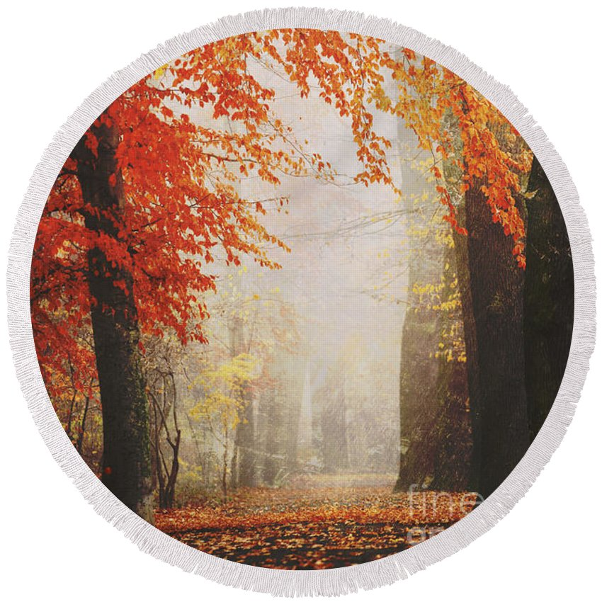 Autumn Round Beach Towel featuring the photograph Autumn Colours by Jana Behr