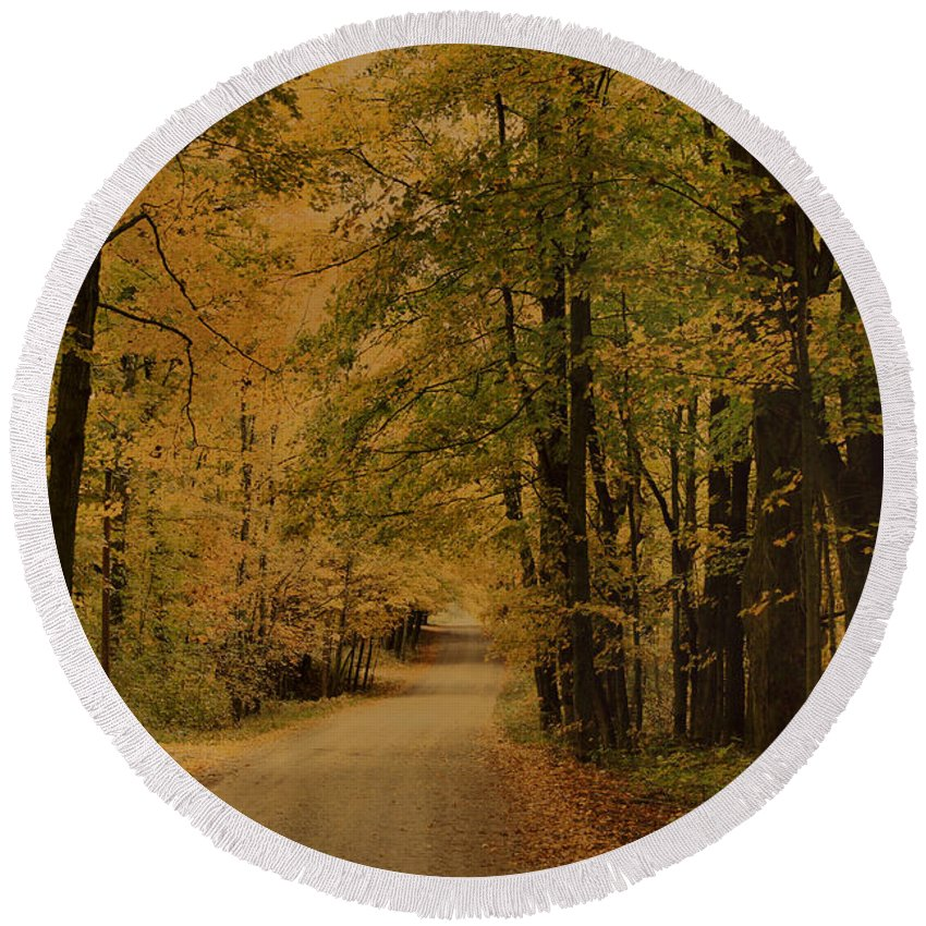Country Road Round Beach Towel featuring the photograph Autumn Country Road by Deborah Benoit