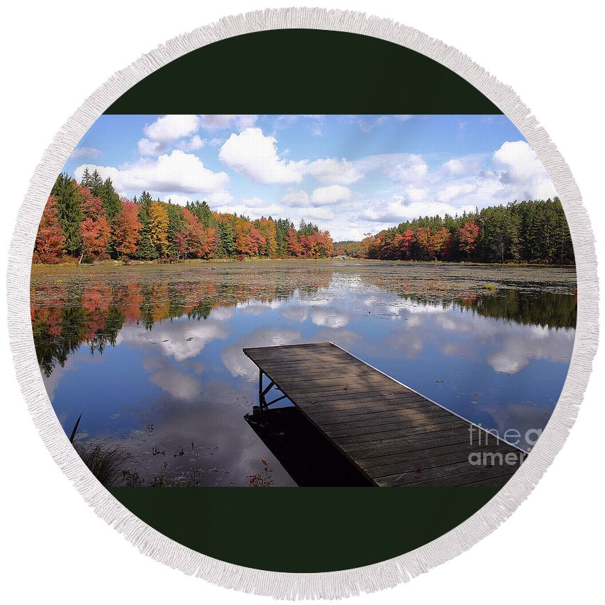 Autumn Round Beach Towel featuring the photograph Autumn Dock by David Rucker