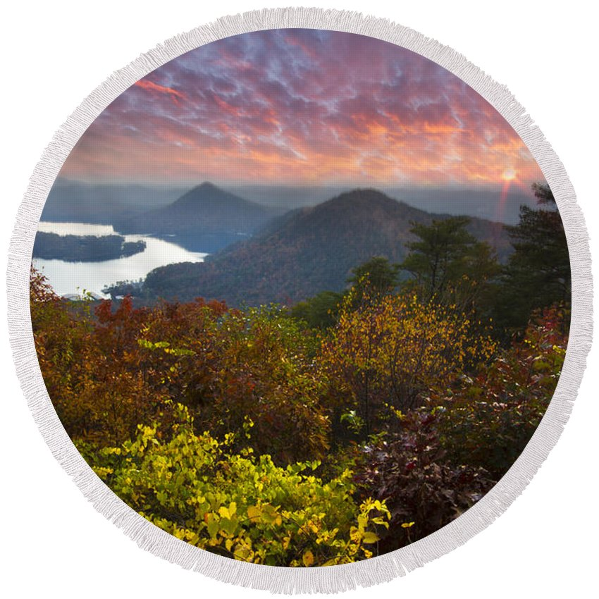 Appalachia Round Beach Towel featuring the photograph Autumn Evening Star by Debra and Dave Vanderlaan