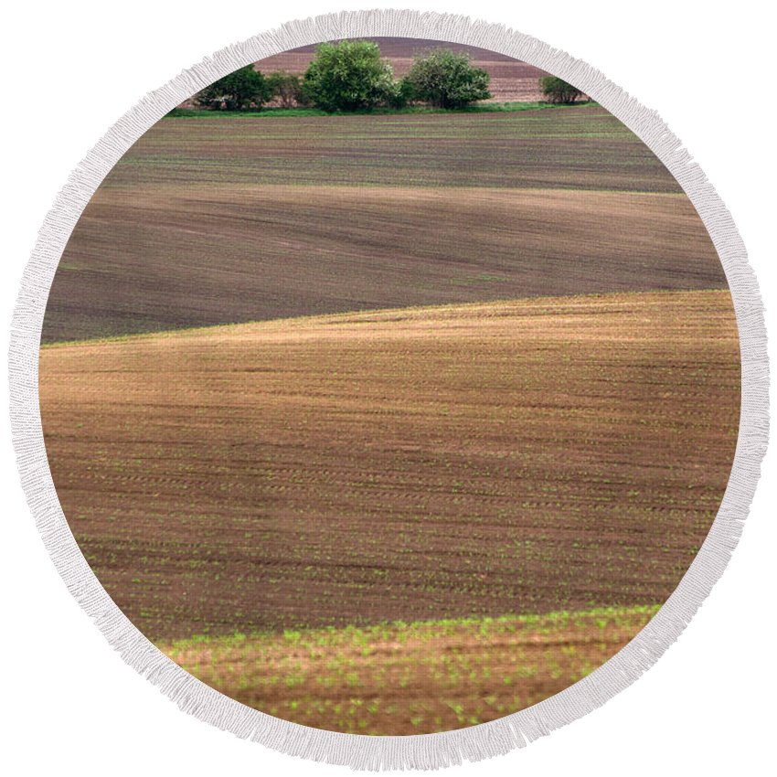 Landscape Round Beach Towel featuring the photograph Autumn Fields Of Moravia by Jaroslaw Blaminsky