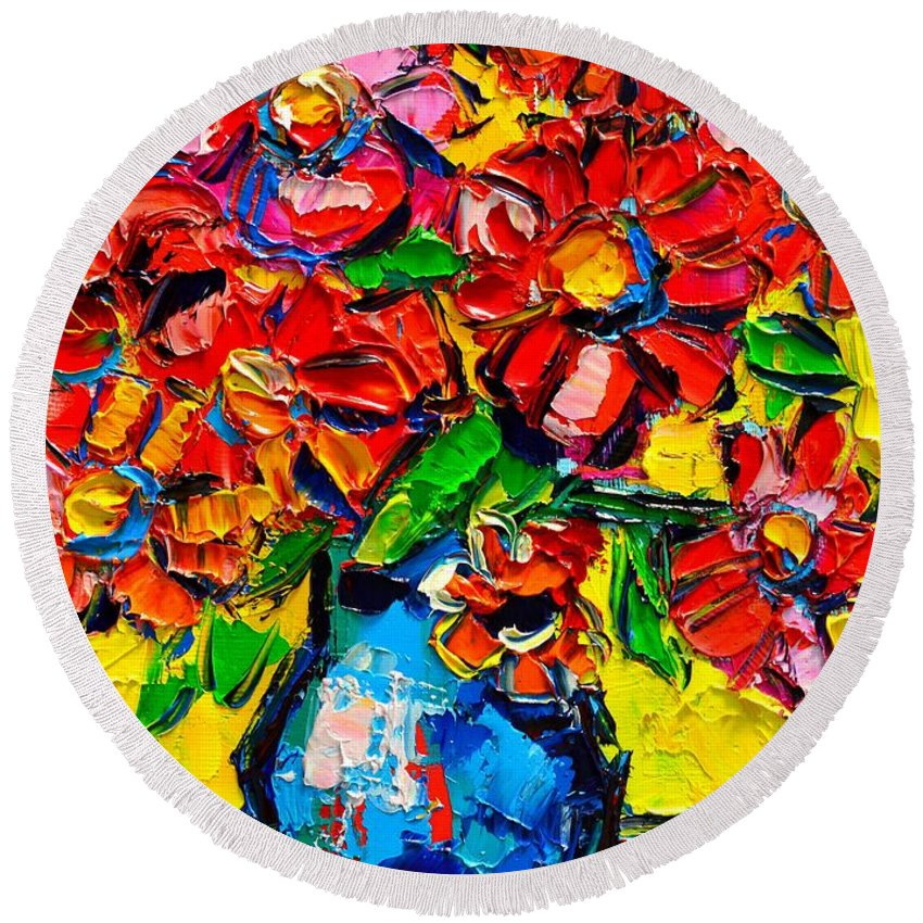 Autumn Round Beach Towel featuring the painting Autumn Flowers 7 by Ana Maria Edulescu