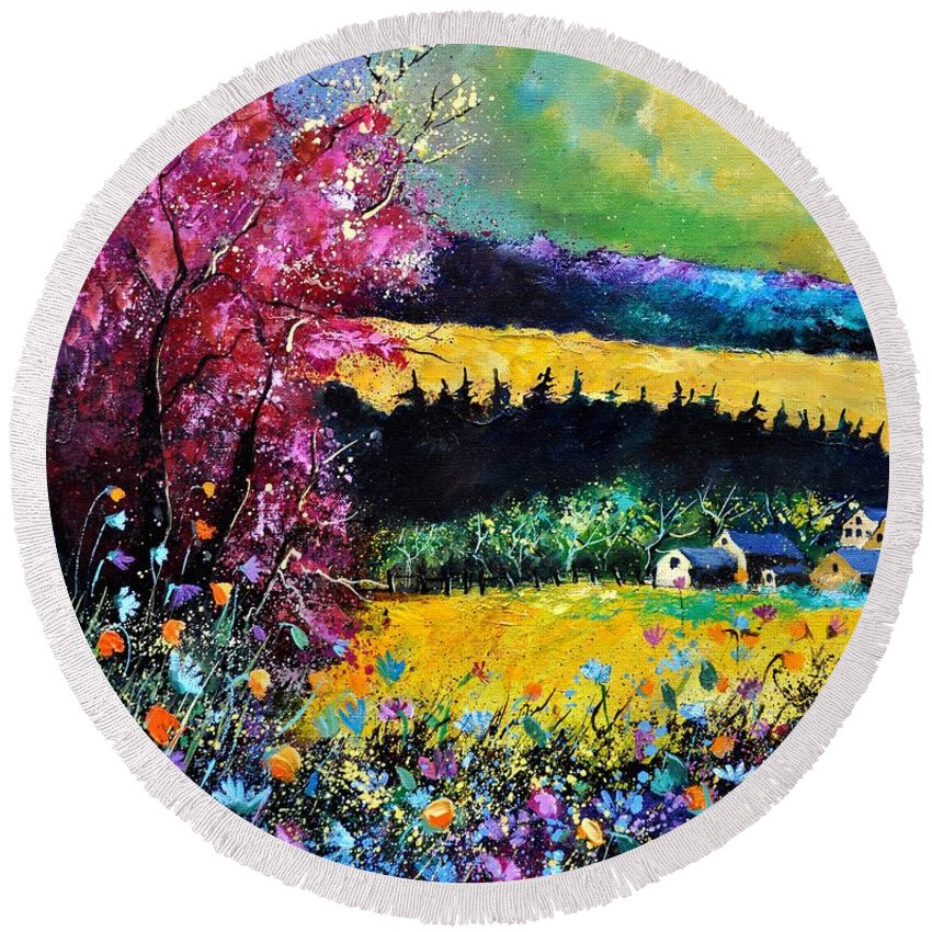 Landscape Round Beach Towel featuring the painting Autumn Flowers by Pol Ledent