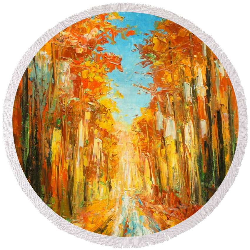 Autumn Round Beach Towel featuring the painting Autumn Forest Impression by Luke Karcz